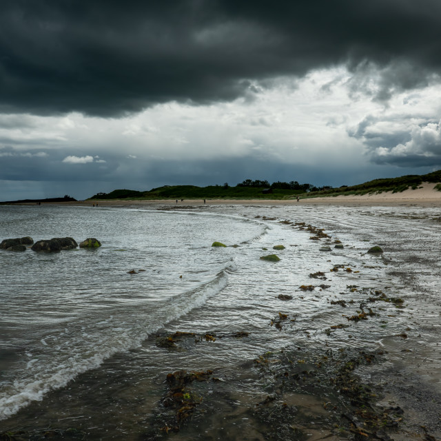 """""""Low Newton-by-the-Sea under a heavy sky"""" stock image"""
