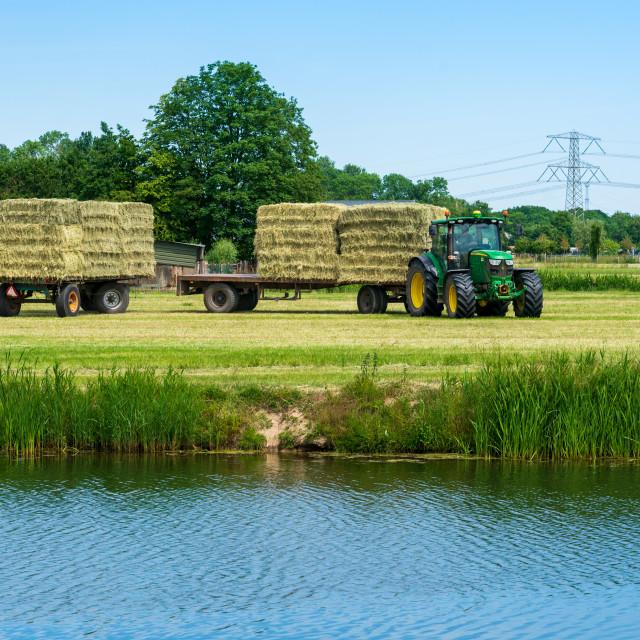 """Harvesting bales of hay 3"" stock image"