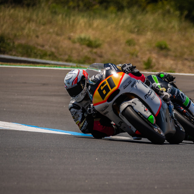 """Rider Alessandro Zaccone during a free practice of FIM CEV Repsol Estoril 2020"" stock image"