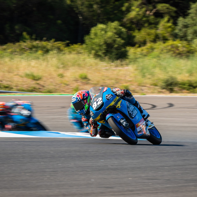 """Rider Diogo Moreira during a free practice of FIM CEV Repsol Estoril 2020"" stock image"