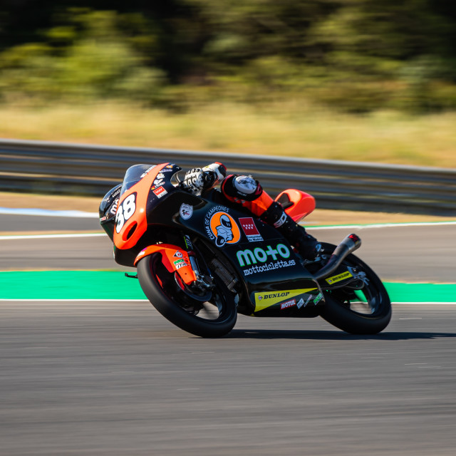 """Rider David Salvador during a free practice of FIM CEV Repsol Estoril 2020"" stock image"