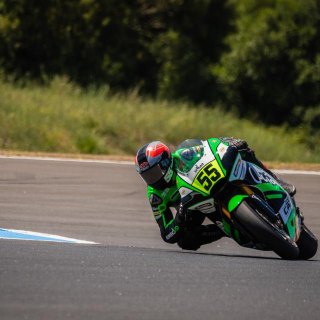 """Rider Yari Montella during a free practice of FIM CEV Repsol Estoril 2020"" stock image"