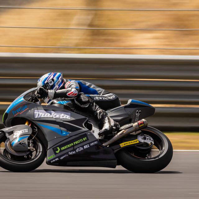 """Rider Niki Tuuli during a race of FIM CEV Repsol Estoril 2020"" stock image"