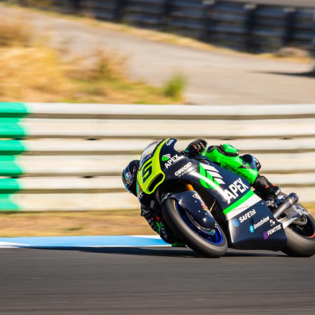 """Rider Alejadro Medina during a free practice of FIM CEV Repsol Estoril 2020"" stock image"