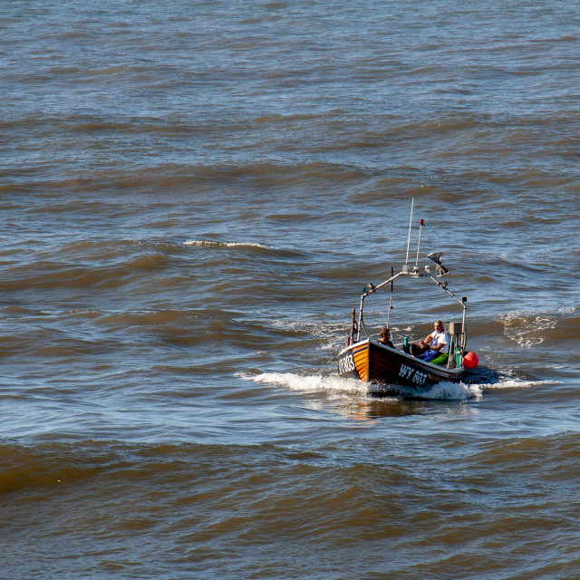 """""""Whitby Fishing Boat WY803 Ran Returning to Whitby Harbour. Yorkshire, England."""" stock image"""