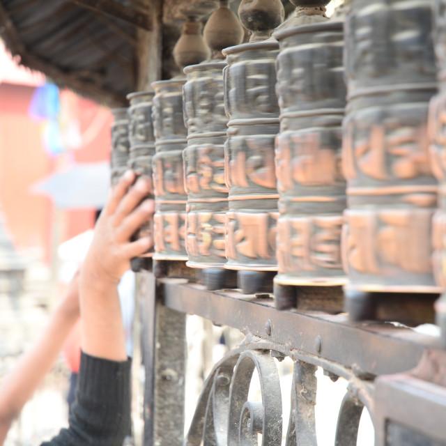 """Prayer Wheels"" stock image"