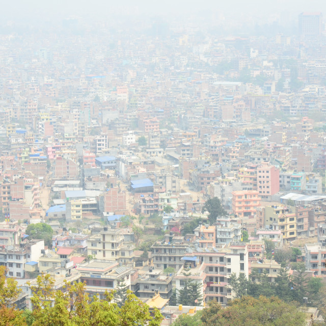 """Pollution Haze in Kathmandu, Nepal"" stock image"