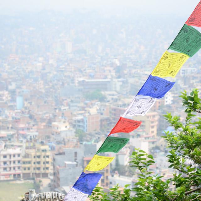 """Prayer Flags and Pollution Haze, Kathmandu"" stock image"