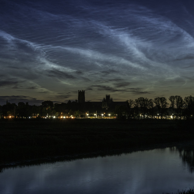 """""""Noctilucent cloud over Ely Cathedral, 11th July 2020"""" stock image"""