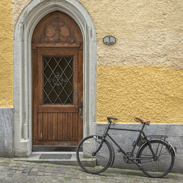 """""""bicycle by the door"""" stock image"""