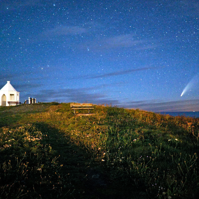 """""""Neowise over Newquay."""" stock image"""