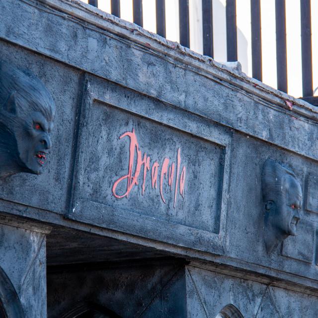 """""""Whitby, UK, Yorkshire East Coast, Dracula, Shop Sign."""" stock image"""