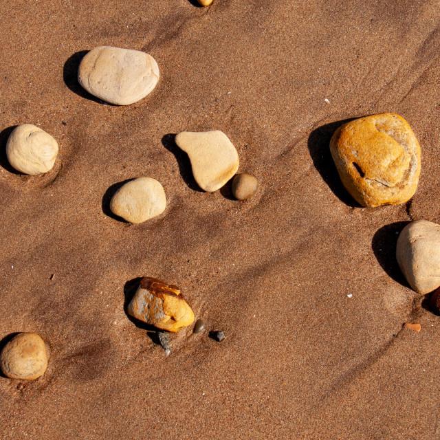 """Whitby, UK, Yorkshire East Coast, Pebbles on the Beach"" stock image"