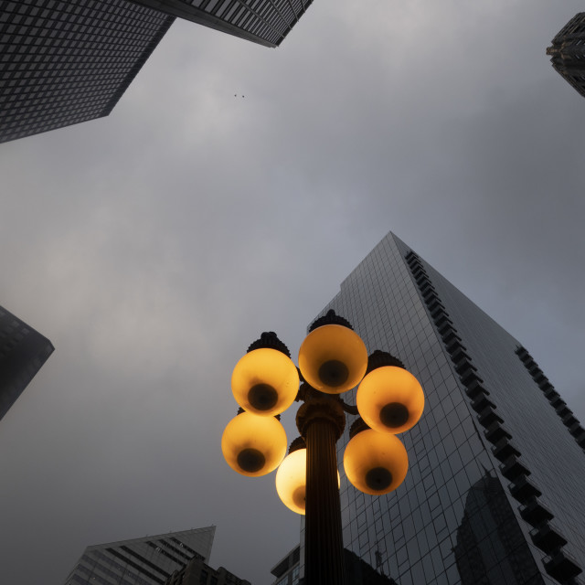 """Fog day street lamps in Chicago"" stock image"