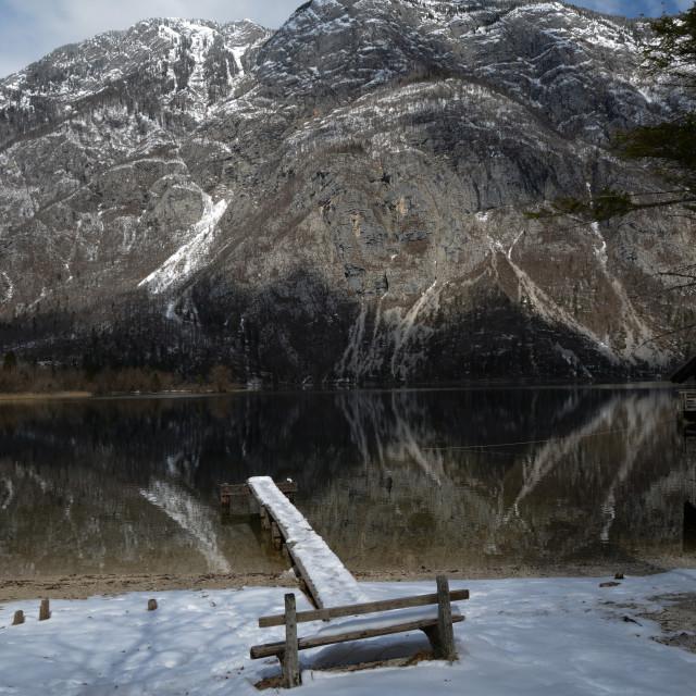 """Old jetty of Lake Bohinj Slovenia"" stock image"