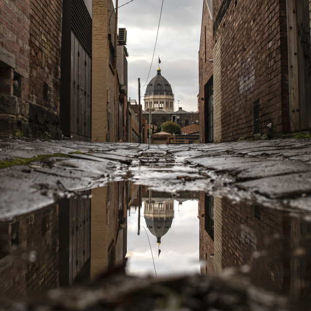 """Exhibition in a puddle"" stock image"