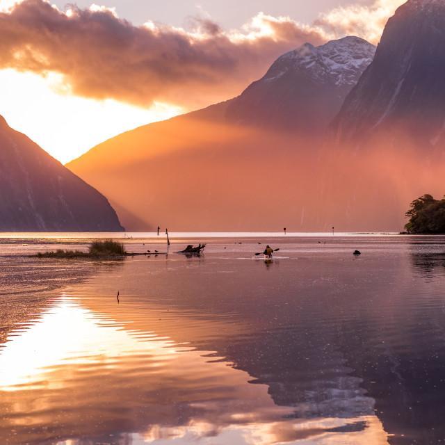 """Mitre Peak, Milford Sound , New Zealand- Sunset"" stock image"