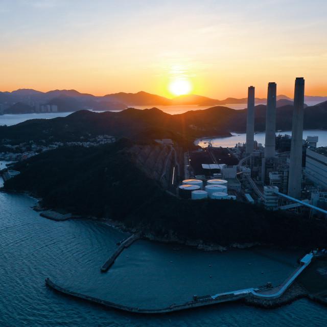"""""""Power Station Sunrise"""" stock image"""
