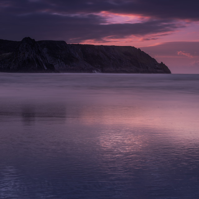 """Gower Headland, after sunset"" stock image"