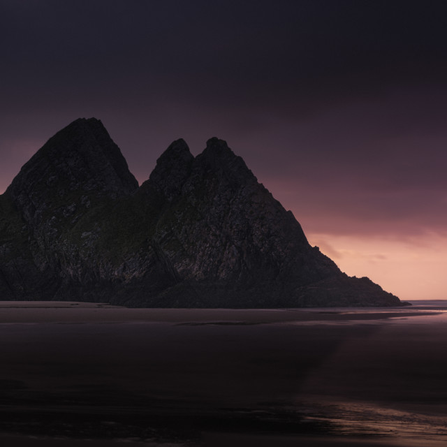 """Three Cliffs Bay, after sunset"" stock image"