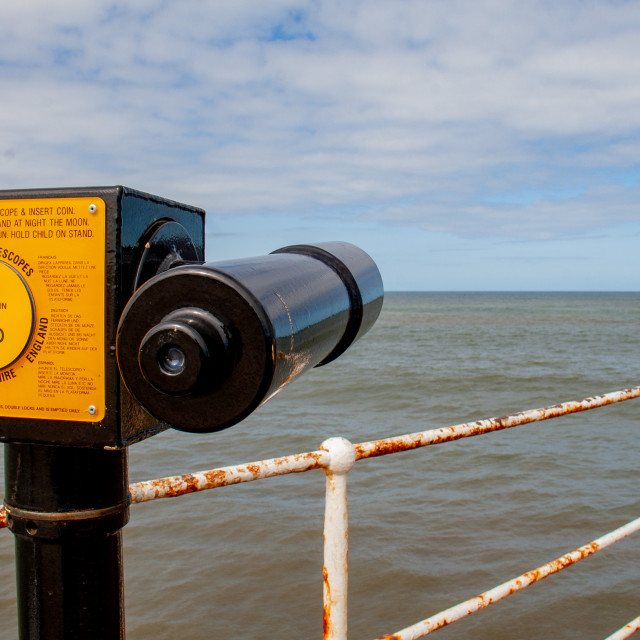 """""""Whitby,UK,Yorkshire,East coast, Roland Pay to View Telescope at the Harbour."""" stock image"""