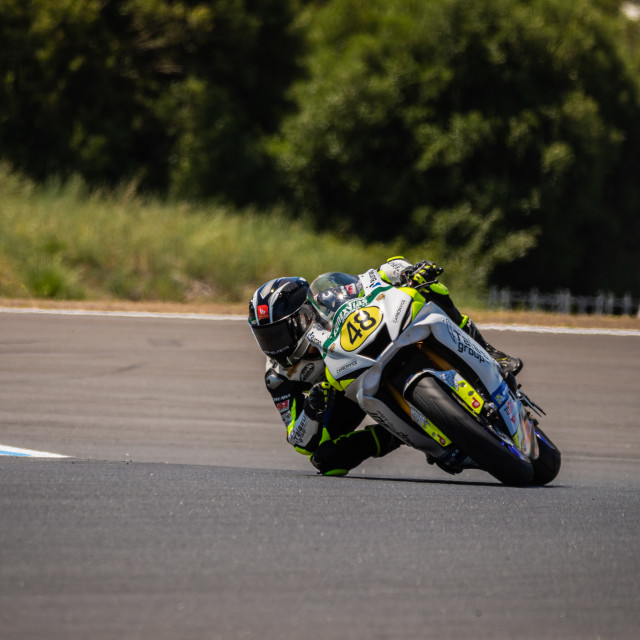 """Rider Joan Díaz during a free practice of FIM CEV Repsol Estoril 2020"" stock image"
