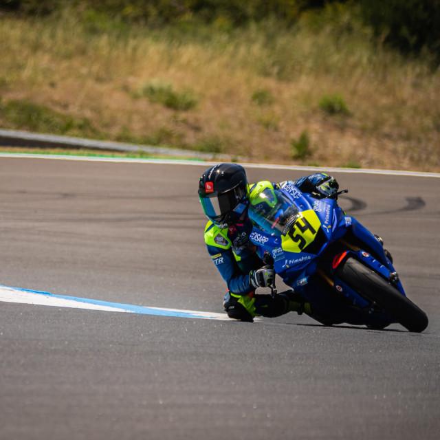 """Rider Fermin Aldeguer during a free practice of FIM CEV Repsol Estoril 2020"" stock image"