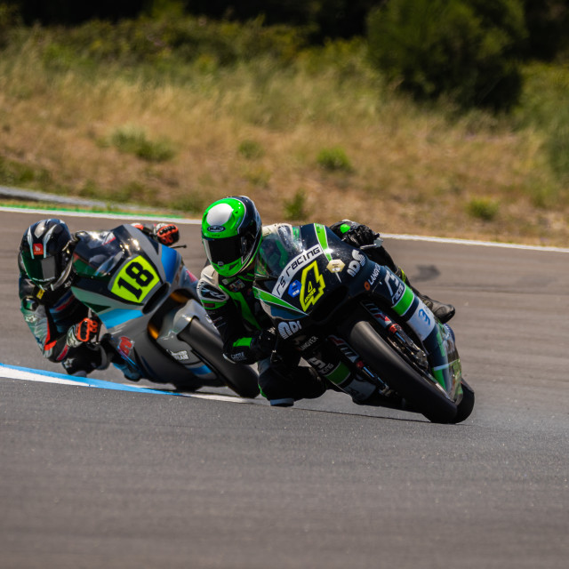 """Rider Jake Archer during a free practice of FIM CEV Repsol Estoril 2020"" stock image"