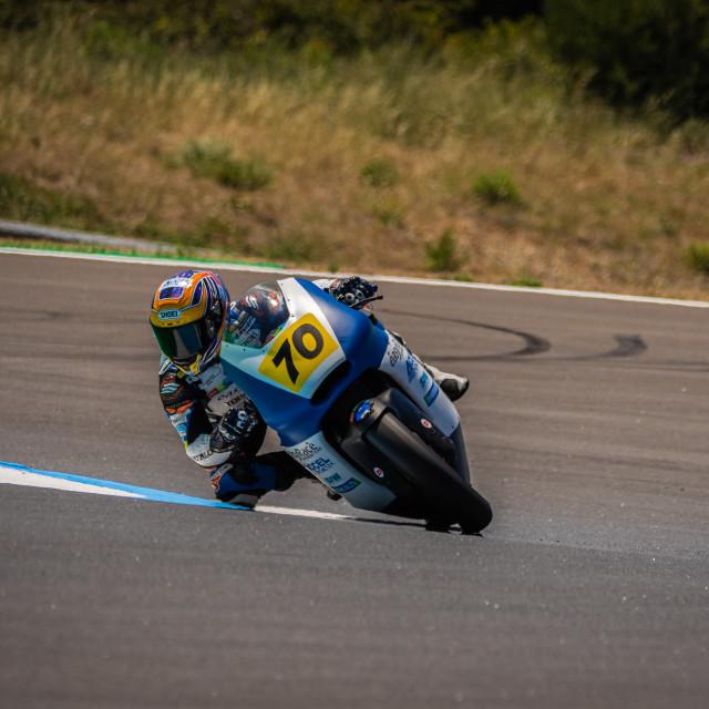 """Rider Takeshi Ishizuka during a free practice of FIM CEV Repsol Estoril 2020"" stock image"