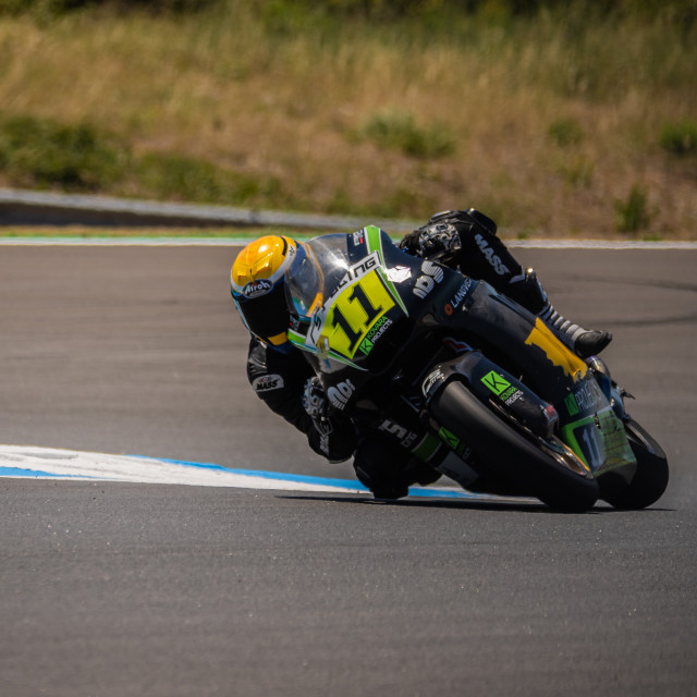 """Rider Kyle Smith during a free practice of FIM CEV Repsol Estoril 2020"" stock image"