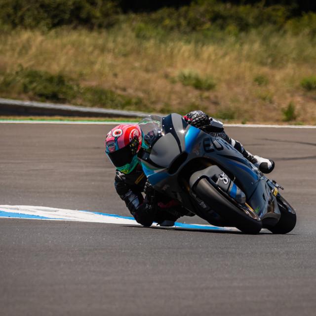 """Rider Piotr Biesiekirski during a free practice of FIM CEV Repsol Estoril 2020"" stock image"