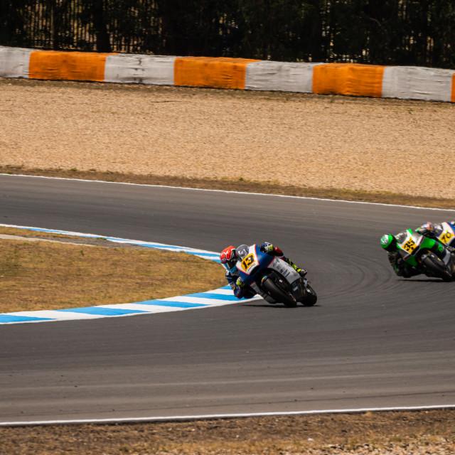 """""""Rider Mattia Rato during a race of FIM CEV Repsol Estoril 2020"""" stock image"""
