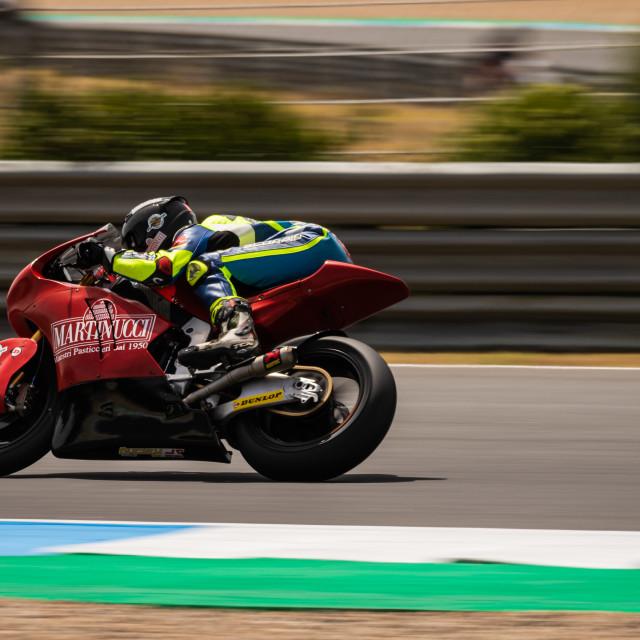 """""""Rider Alessandro Zetti during a race of FIM CEV Repsol Estoril 2020"""" stock image"""