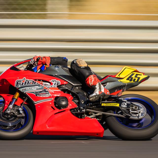 """""""Rider Leon Orgis during a free practice of FIM CEV Repsol Estoril 2020"""" stock image"""