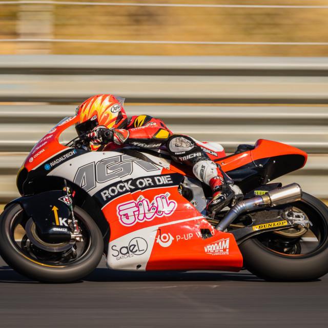 """""""Rider Taiga Hada during a free practice of FIM CEV Repsol Estoril 2020"""" stock image"""