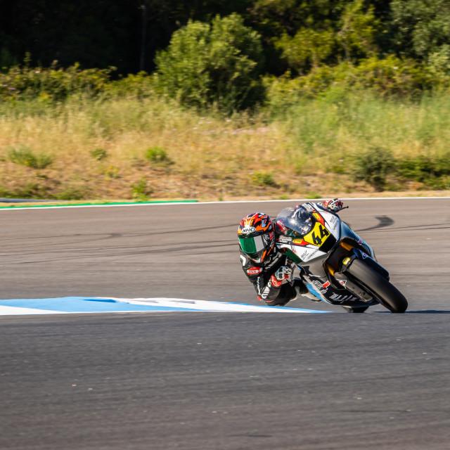 """Rider Kevin Orgis during a free practice of FIM CEV Repsol Estoril 2020"" stock image"