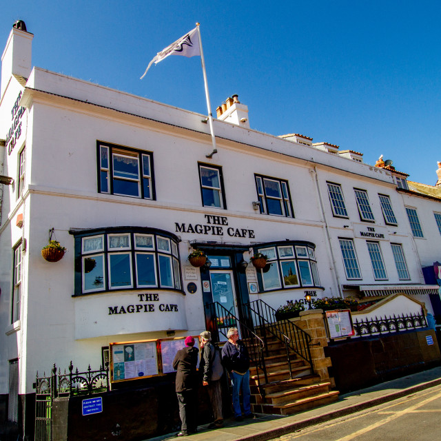 """""""Whitby,UK,Yorkshire,East coast, The Magpie Cafe. Photograph taken April 2013."""" stock image"""