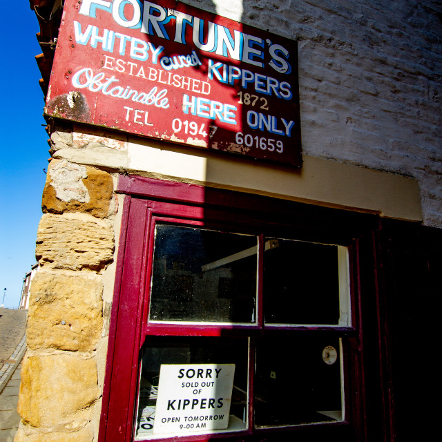 """""""Whitby,UK,Yorkshire,East coast, Fortunes Whitby Kippers Shop."""" stock image"""