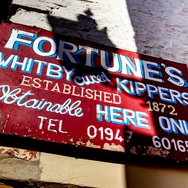 """""""Whitby,UK,Yorkshire,East coast, Fortunes Whitby Kippers Sign."""" stock image"""