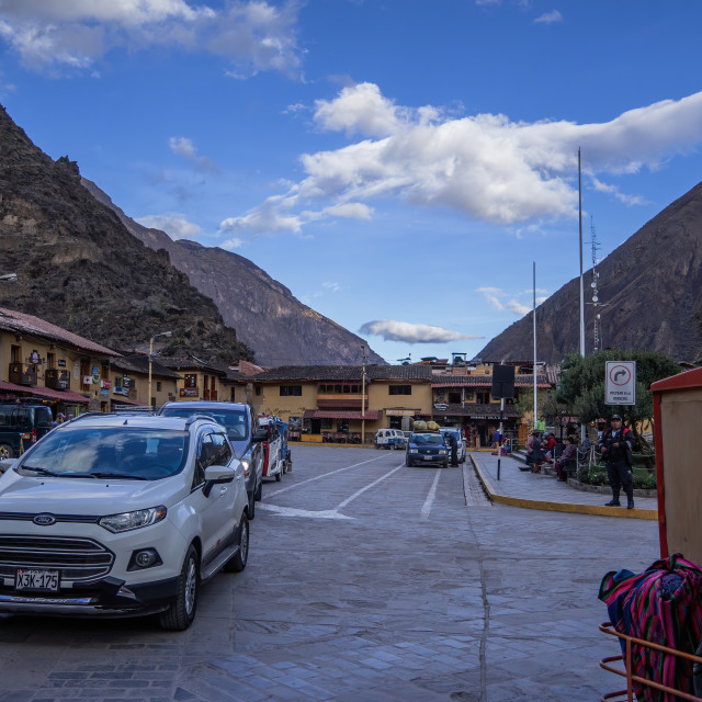 """The Town Square, Ollantaytambo, Peru"" stock image"