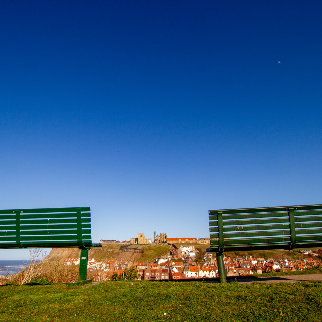 """""""Whitby,UK,Yorkshire,East coast, Best Viewing Seats in Whitby Overlooking the Khyber Pass, Harbour, Abbey and St Mary's Church."""" stock image"""
