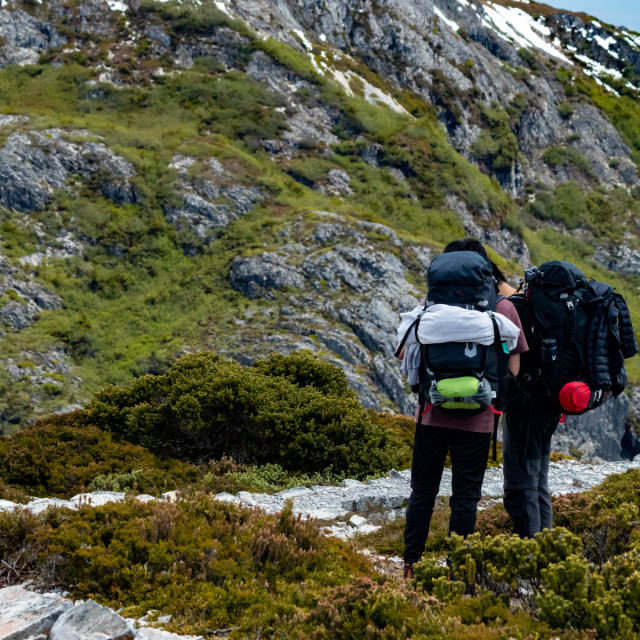 """Healthy lifestyle exploring Tasmania's high country"" stock image"