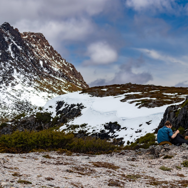 """Snack break trekking Cradle Mountain NP"" stock image"