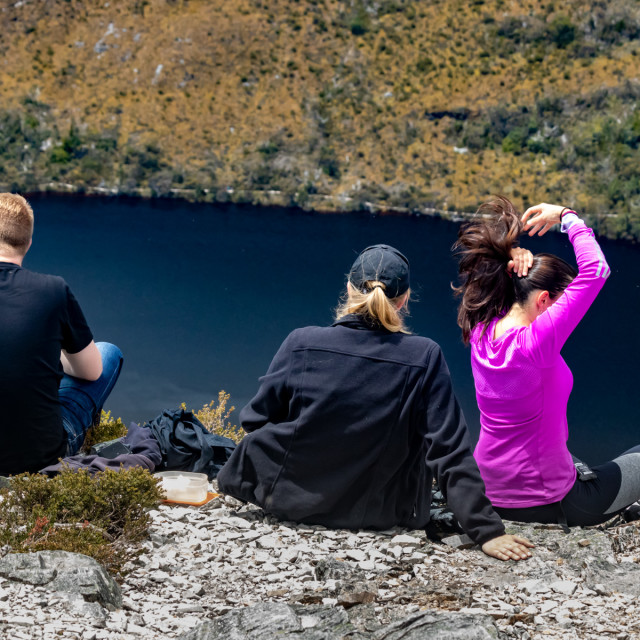"""Perched high above Dove Lake"" stock image"