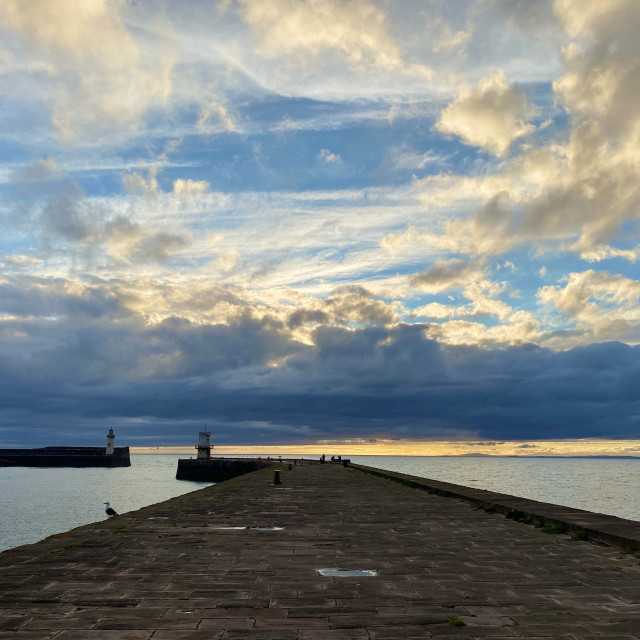 """Sunset at Whitehaven harbour"" stock image"