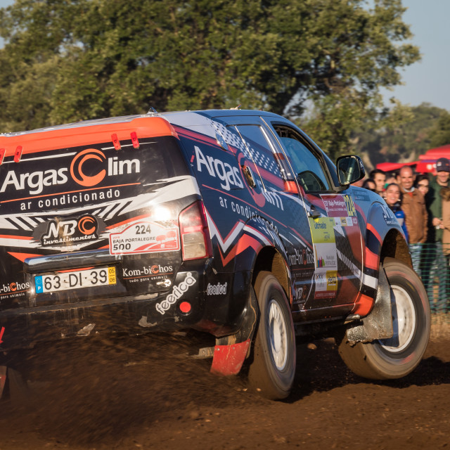 """An off-road car Nissan Pathfinder during the Baja TT Portalegre 500 2019"" stock image"