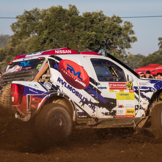 """An off-road car Nissan Navara during the Baja TT Portalegre 500 2019"" stock image"