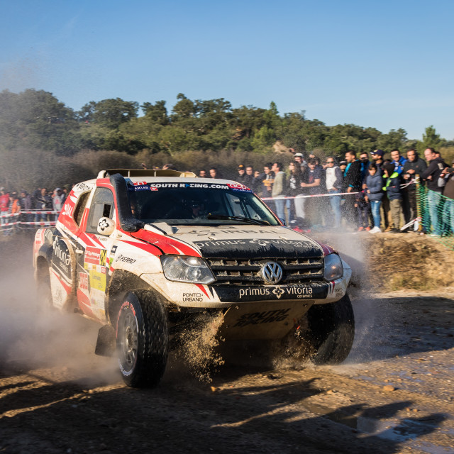 """An off-road car Volkswagen Amarock during the Baja TT Portalegre 500 2019"" stock image"