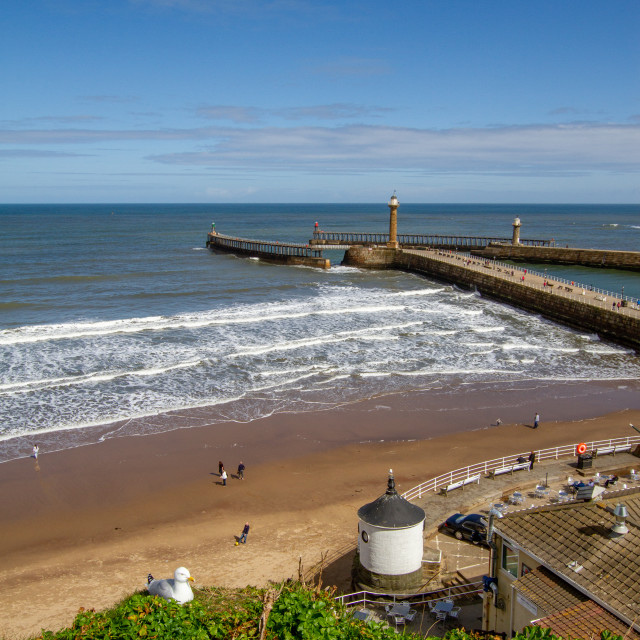 """""""Whitby,UK,Yorkshire,East coast,View from First Nab over East and West Piers, Harbour Entrance."""" stock image"""