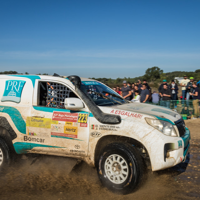 """An off-road car Toyota Land Cruiser during the Baja TT Portalegre 500 2019"" stock image"